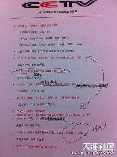 狂转:CCTV春晚节目单泄露的赵本山宋小宝赵海燕小品剧本(图)